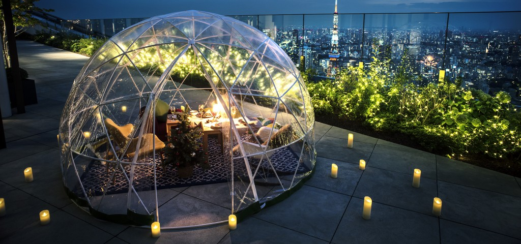 Rooftop Terrace White Christmas Igloo Dinner